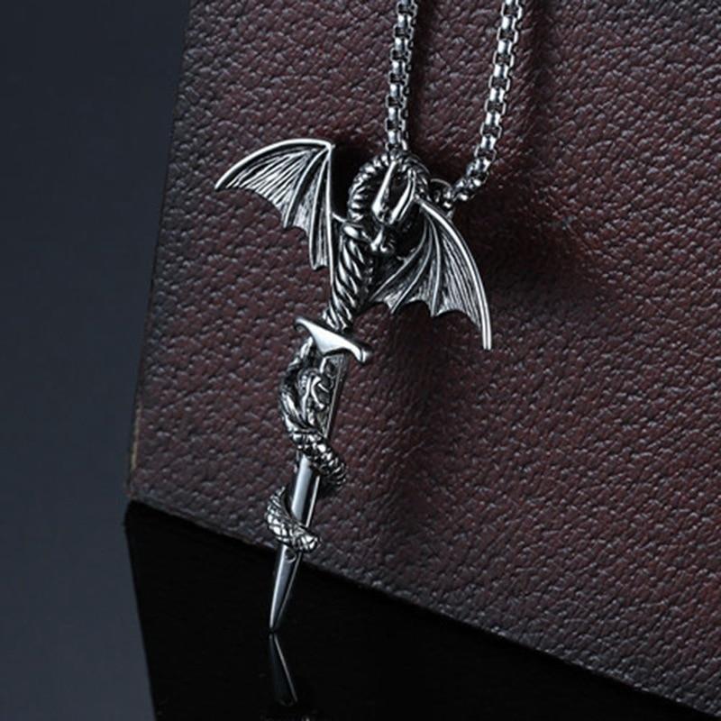 Men's Pendant  Necklace Stainless Steel Dragon Wing Cross Sword Punk Rock Gothic Necklaces Unique Design
