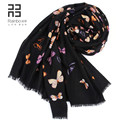 2015 autumn and winter fashion all-match fashion quality print 80 black wool scarf butterfly big size free shipping