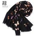 Outono e inverno 80 cachecol de lã preto borboleta tamanho grande