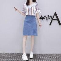 Europe 2018 spring new horn sleeve cowboy skirts korean fashion two piece suit denim skirt girl design leisure streetwear S XL