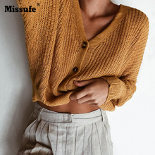 Missufe 5 Colors Button Cardigan Sweaters Casual Cropped Tops Knitted Long Sleeve Autumn Women Sweater 2018