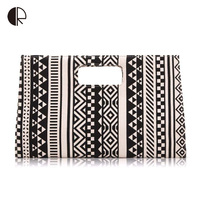 High Quality Women Messenger Bags Black And White Geometric Patterns Bag Printed Canvas Small Day Clutches