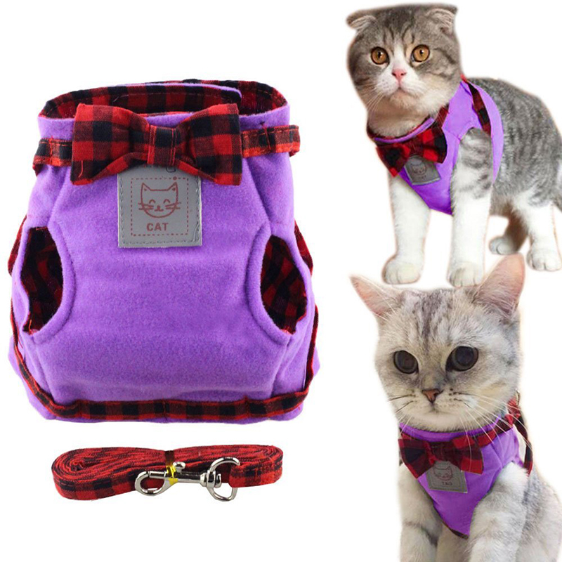 Creative Cute Cat Harness Leash Breathable Vest Cat Collar Vest+leash Set Pet Traction Elegant British Style Cute Jacket Leash