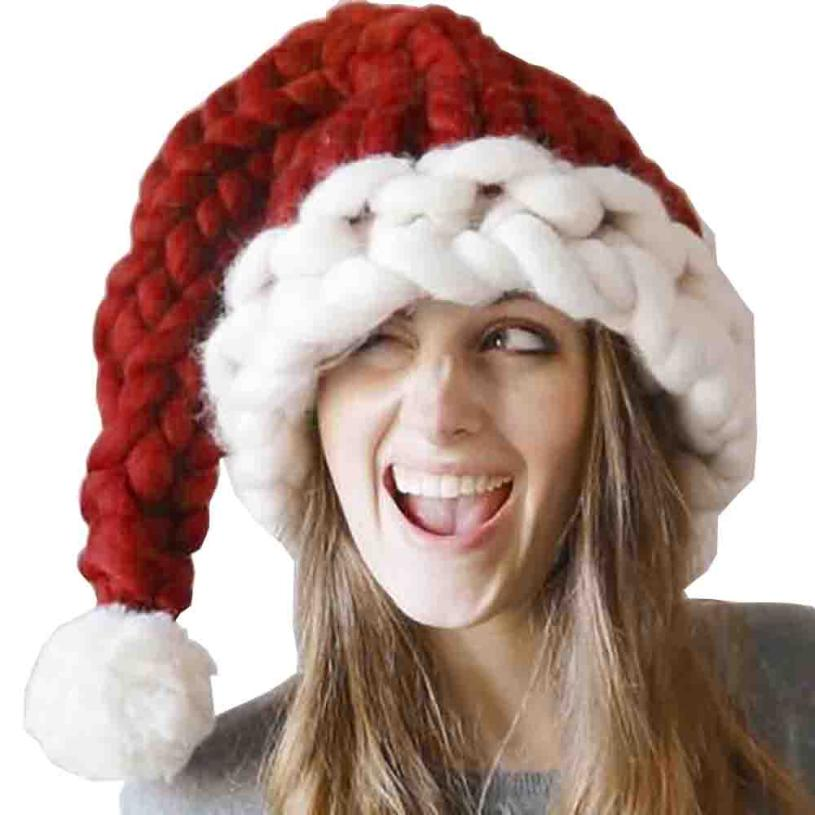 Woweile#4001 Parents Christmas Hat Baggy Handmade Wool Winter Warm Long Tail Hat