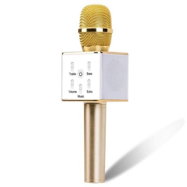 Q7 Беспроводная мини Микрофон Karaoke Player mikrofon Главная Партия КТВ Пение Запись Bluetooth3.0 Динамик для iPhone за Xiaomi L55