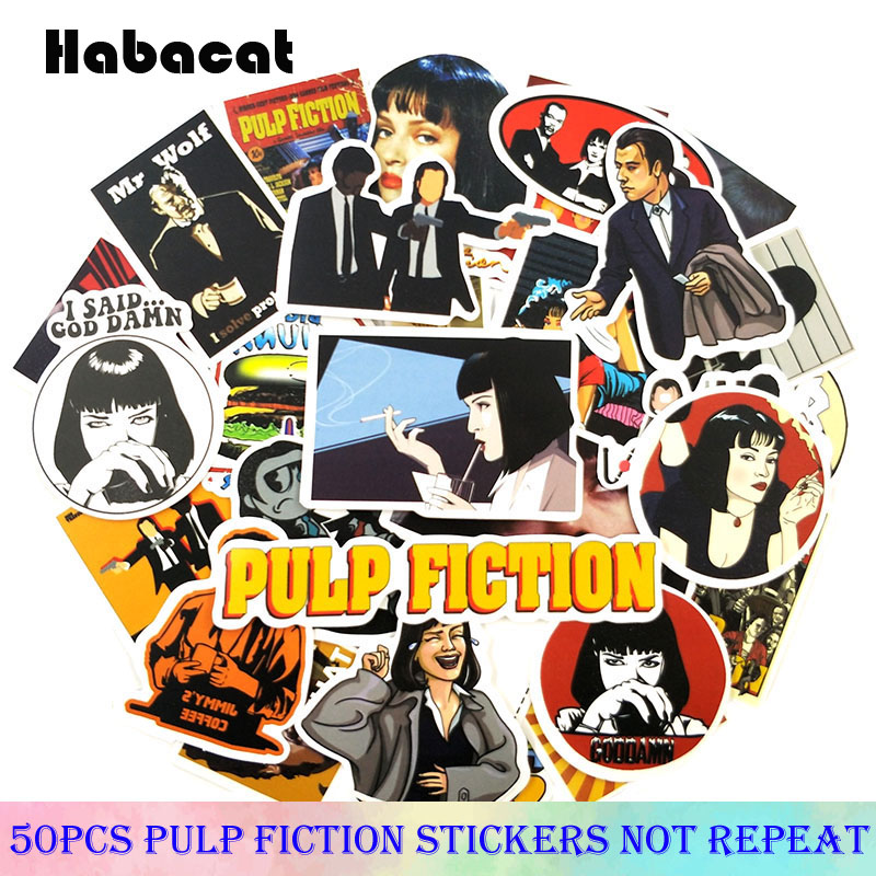50 Pcs/pack Classic Pulp Fiction Film Stickers For Motorcycle Skateboard Laptop Bicycle  Decoration Car PVC Waterproof Sticker