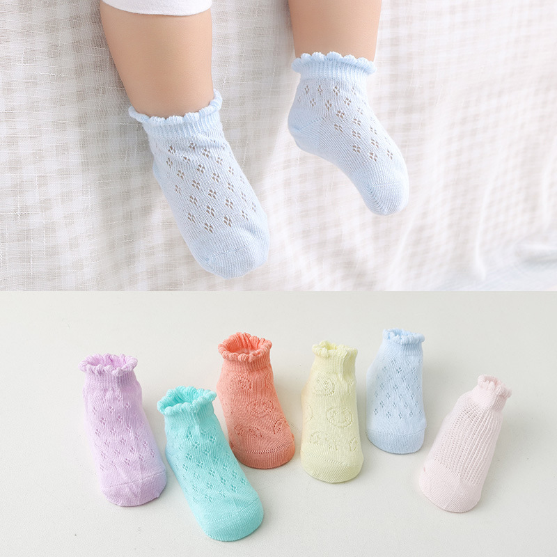 5 Pair Lot New Arrive Baby Socks Summer Mesh Sock Cotton Newborn Boat Socks Boneless Children Boys Girls Thin Socks GZ181