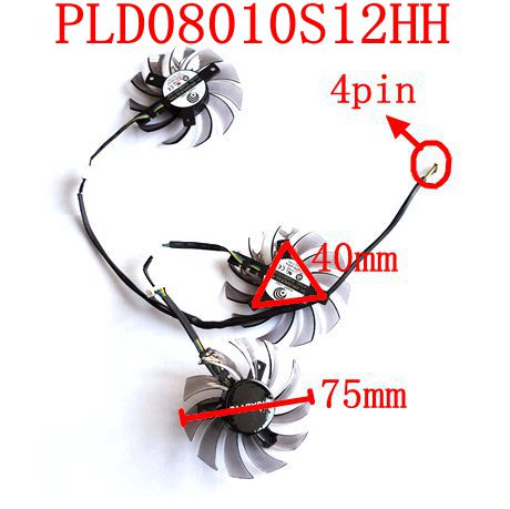 Free shipping POWER LOGIC PLD08010S12HH 3pcs/lot 4pin for GIGABYTE GTX 780/780TI GTX 760/770 R9 290 Graphics card fan