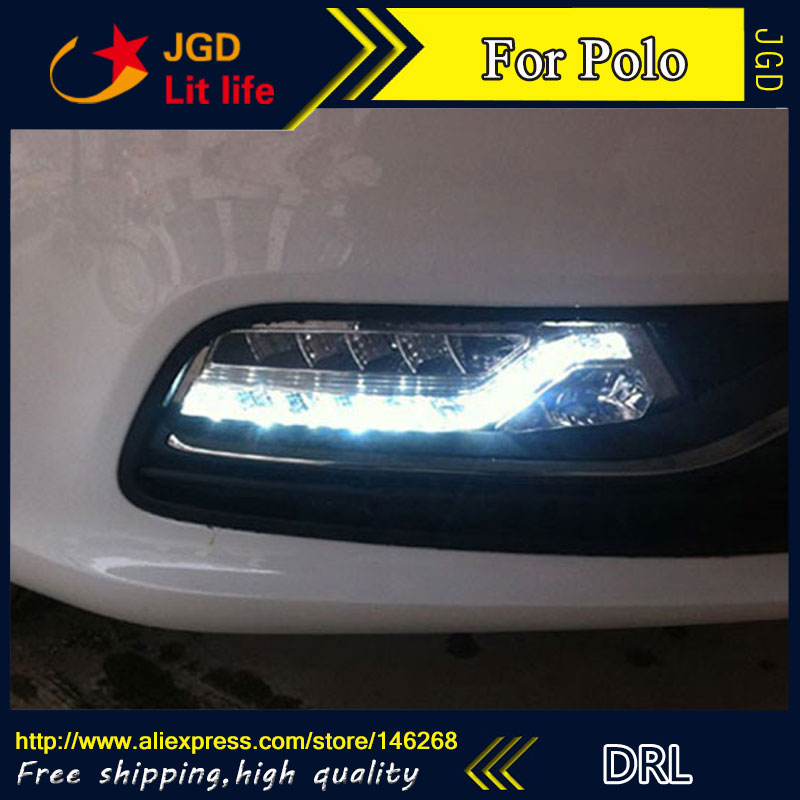 Free shipping ! 12V 6000k LED DRL Daytime running light for VW Polo 2014 2015 fog lamp frame Fog light Car styling free shipping 2pc lot car styling car led lamp bulb rear fog lamp for peugeot 308 ii sw 2014