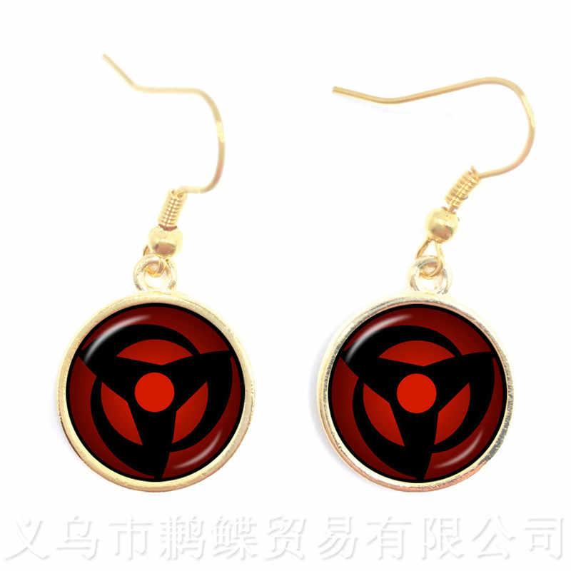 2018 New Japan NARUTO Sharingan Earrings Uzumaki Naruto Red Eye 16mm Glass Cabochon Drop Earrings Jewelry For Friends
