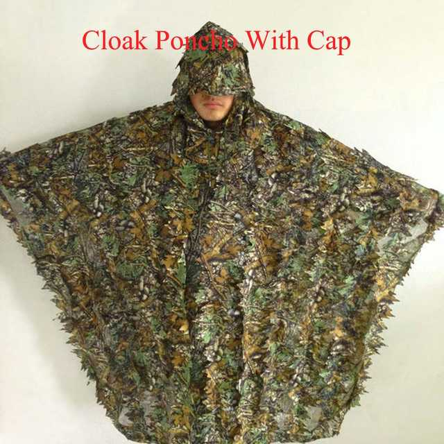 ce0016b295e placeholder 1.5m 3D Hunting Camouflage Ghillie With Cap Suit Clothes Jungle  Cloak Poncho Camo Bionic Leaf