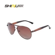SHINU Brand Sunglasses Women Men Polarized Driving Pilot Sunglasses Cool Goggle Oculos De Sol  Metal Frame Wood Legs Eyeglasses
