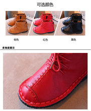 Autumn and winter Korean version of the boys plus velvet boots children 's fashion boots Mianxie soft – bottomed boots girls ret