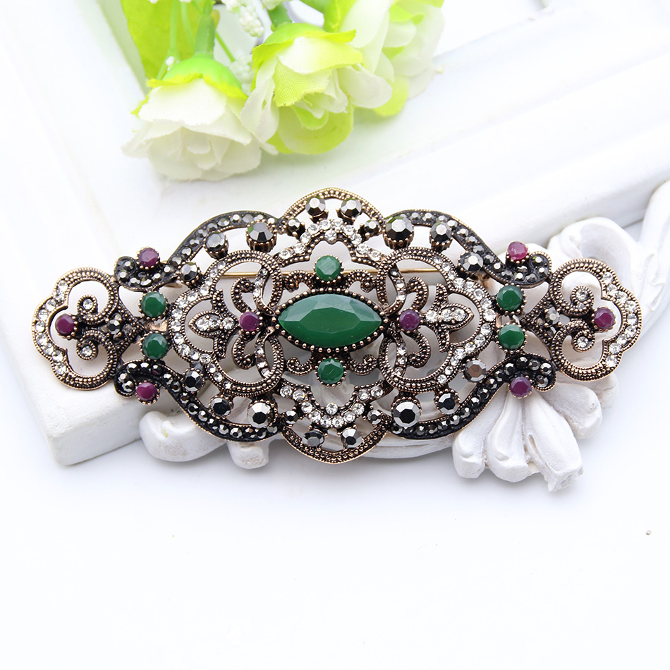 Vintage Turkish Antique Rhinestone Brooch Women Gold Color Flower Badge  Crystal Brooches Lapel Hijab Scarf Pins Jewelry Gift