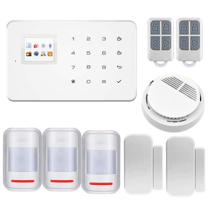 TFT Touch Wireless GSM Alarm System SIM Smart Home Burglar Security Alarm System Android ISO APP Control PIR infrared Detector kerui wireless wired gsm voice burglar home house security alarm app control tft touch panel wireless smoke detector pir sensor