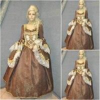 Новый коричневый Винтаж костюмы викторианской платья 1860 S Гражданская война Southern Belle Платье Мария Антуанетта платья US4 36 C 690