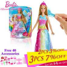 Barbie Brand 2018 Dreamtopia Newest Doll toys Rainbow Princess With Long Hair And Beautiful Skirt Baby Toy For Birthday's Gift