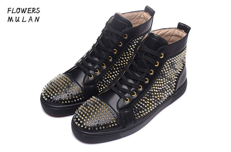 2018 Fashion Unisex Style New Black Leather Casual Golden Rivets Shoes Mens High Top Bottom Lace Up Man's Ankle Boots Plus