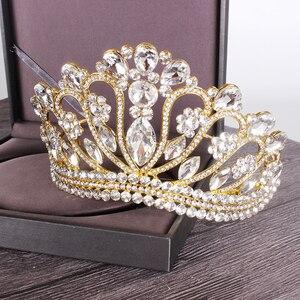Image 5 - 新しいシルバーゴールドカラー結婚式の女王クラウン高級クリスタルビッグティアラクラウン櫛で花嫁のウェディングブライダルヘッドドレス HG 213