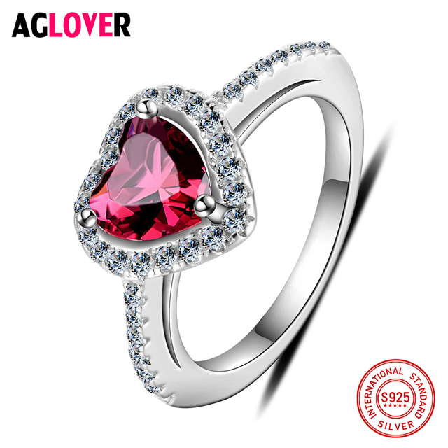 925 Silver Ring Woman Charm Jewelry AAA Ruby Crystal Heart Ring Gift Of Love