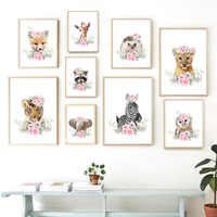Cute Animal Lion Elephant Fox Tiger Wall Art Canvas Painting Nordic Posters And Prints Nursery Wall Pictures Kids Room Decor