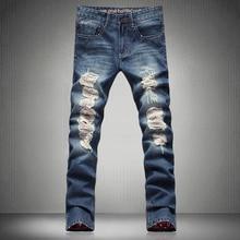 2016 Hot Fashion Men Jeans New Vintage Fashion Design Motorcycle Hole Torn Denim Trousers Slim Fit Pants Size 29-38 MB16041 Z20