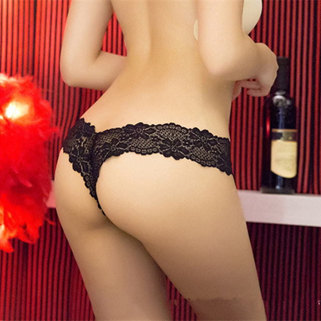 83a277797b5b Plus Size S M L XL Women Super Sexy Thin G String Bowknot Lace Underwear  Lady Thongs Red Purple Blue Black red Rosia red