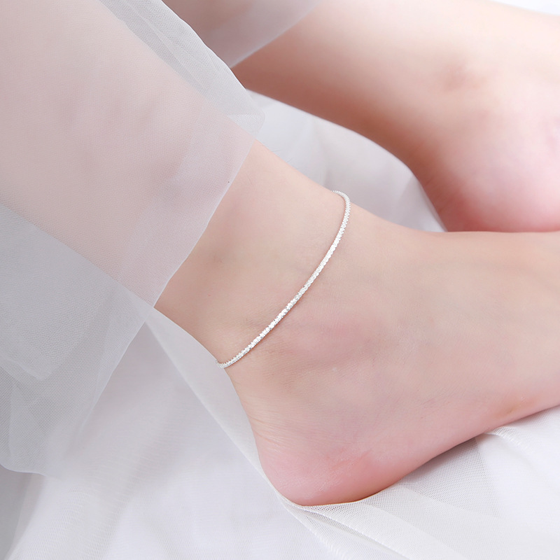 Real 925 Sterling Silver crystall Anklet fine Jewelry Simple beach Foot Chain For Women Girl 925 Silver Ankle Chain Bracelet