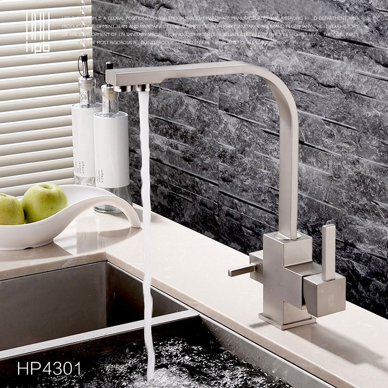 hpb brass double functions kitchen sink mixer filter faucet drinking pure water tap torneira chrome brushed - Kitchen Sink Drink