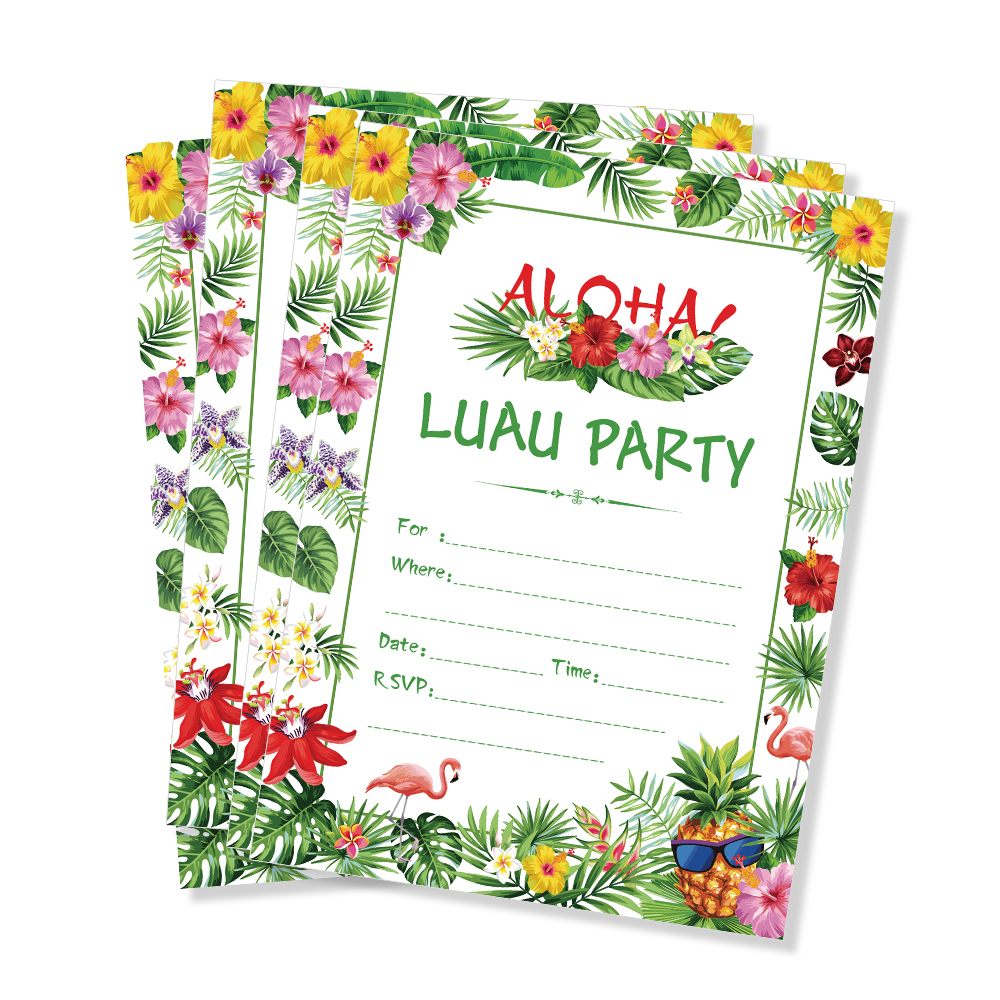 Гавайские приглашения на праздник карты украшения Luau подарки для тематической вечеринки розовые с цветами и зелеными листьями карты Aloha ве...