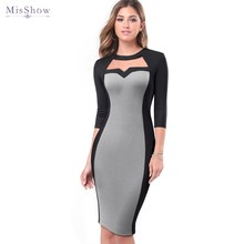 Elegant Women Formal Business Work Office Dress 3/4 Sleeveless O Neck Party Bodycon Pencil