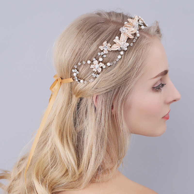 Shinny Crystal Bridal Wedding Head Piece Bride Headwear Headband Hair Band 100% Handmade Women Party Jewelry Accessories O937 women girl bohemia bridal camellias hairband combs barrette wedding decoration hair accessories beach headwear
