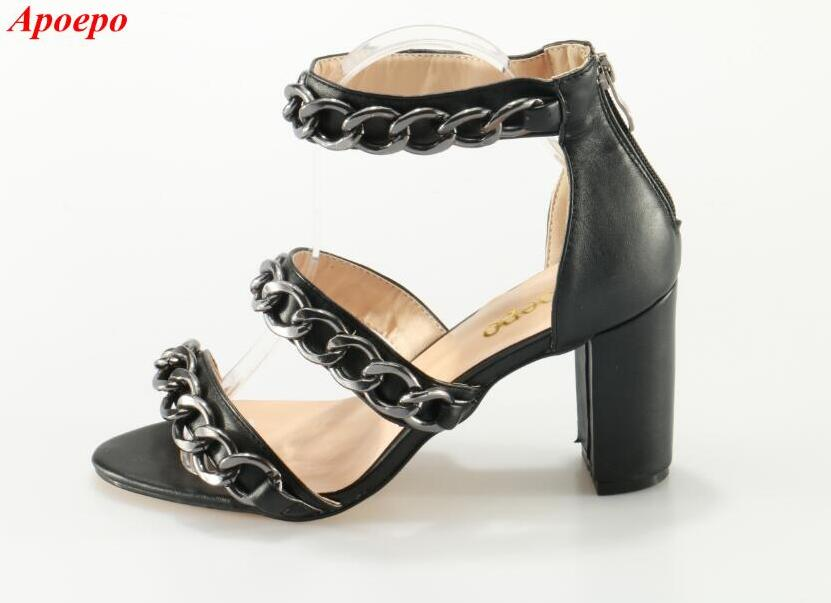 Sexy Black Leather Chains Decorations Sandals Open Toe Thick Heel Cut-out Gladiator Sandals For Women 2017 Summer Dress Shoes cut out open back chains club dress