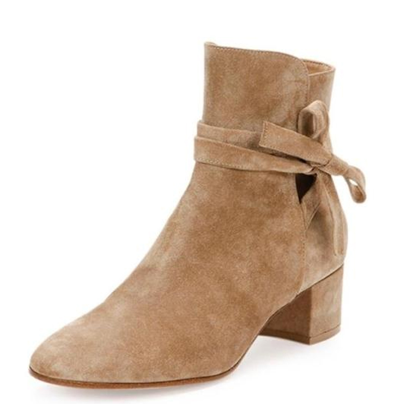 New Low Heeled Suede Leather Black Brown Grey Autumn Winter Ankle Boots Shoes Womens -1961