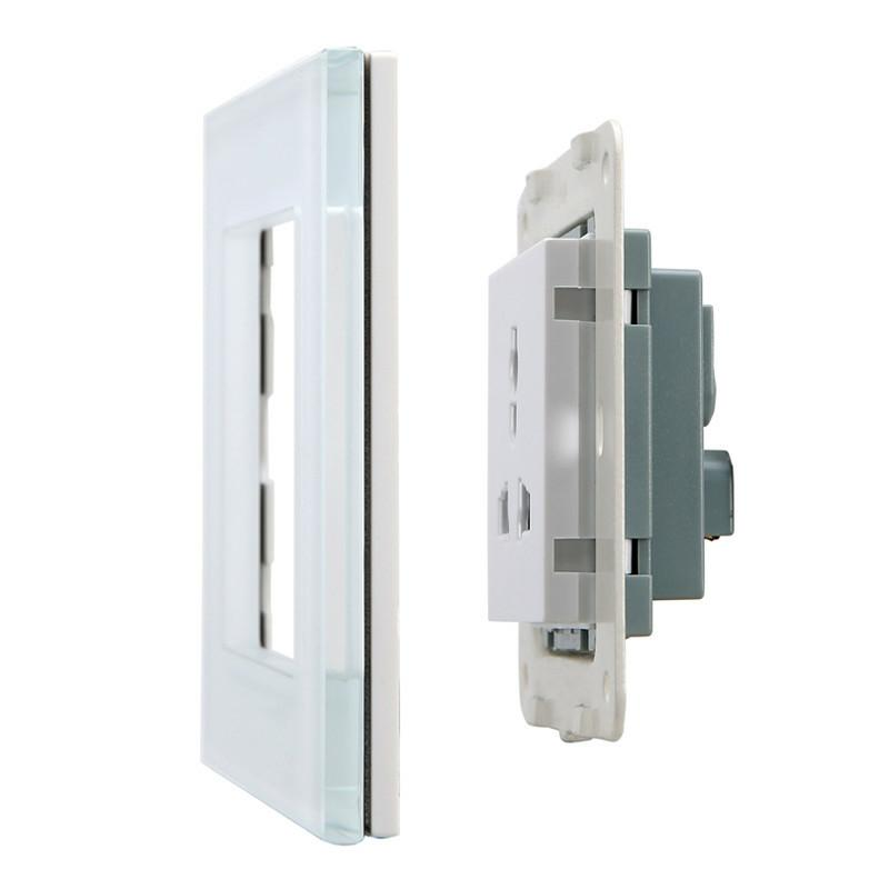 EU UK AU US Standard Electrical Outlet 86mm 86mm Wall Crystal Glass Panel Power Socket Plug Grounded in Electrical Sockets from Home Improvement