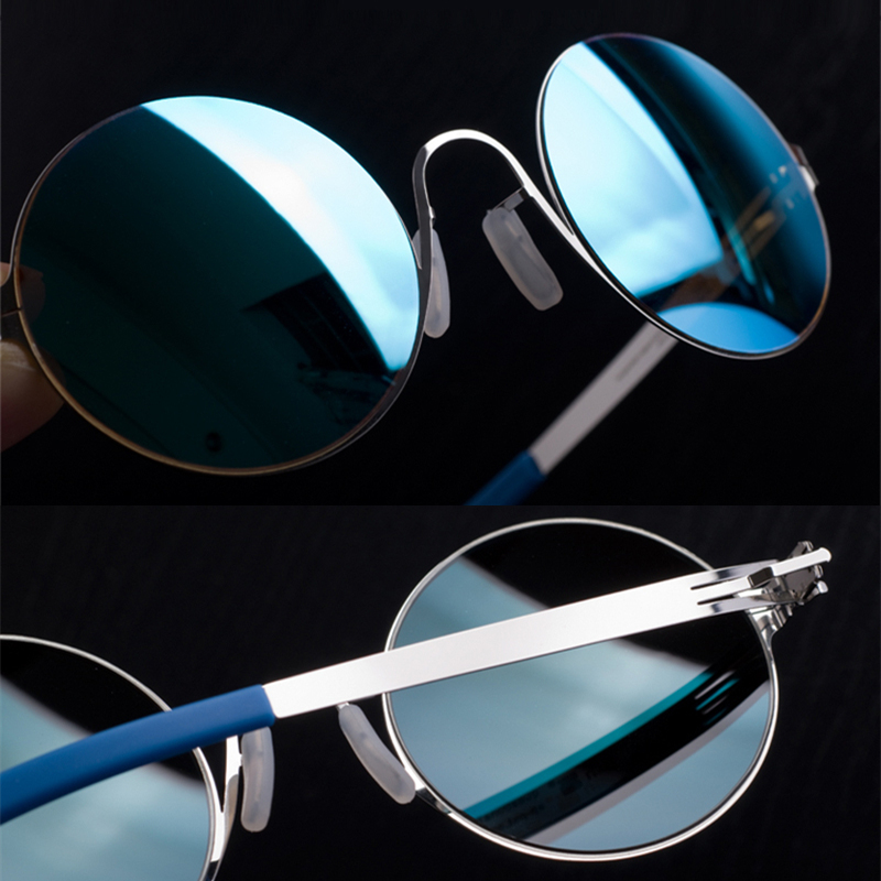 Stainless No Screw Vintage Round Sunglasses Women Outdoor Sun Glasses with Colored Lens Men UV400 Gafas De Sol
