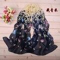 Женщины лето весна аксессуары шарф пашмина бабочка шаль мыс шелк шифон поводок глушитель