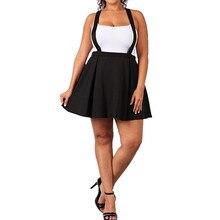 Women's Black Plus Size Strap Mini Skirt