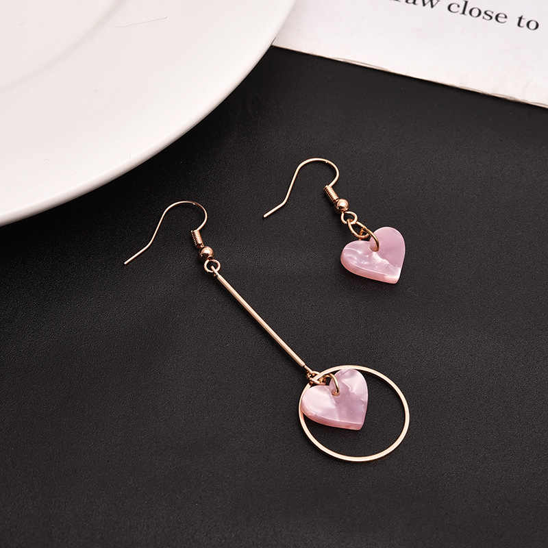 South Korea east gate asymmetrical length heart earrings pink alloy