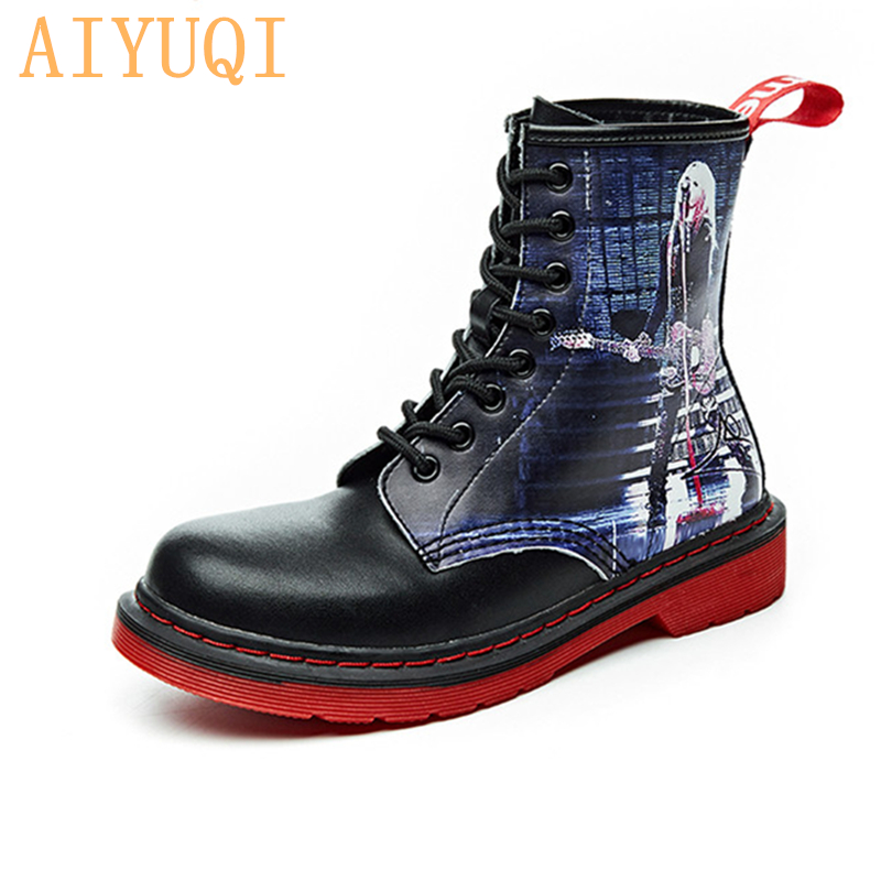 AIYUQI 2019 autumn new genuine leather ankle boots women platform martin black  booties