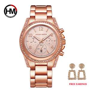 Image 2 - Drop Shipping 1 set Rose Gold Top Luxury Brand Women Rhinestone Watches Femme Calendar Waterproof Fashion Dress Ladies watch