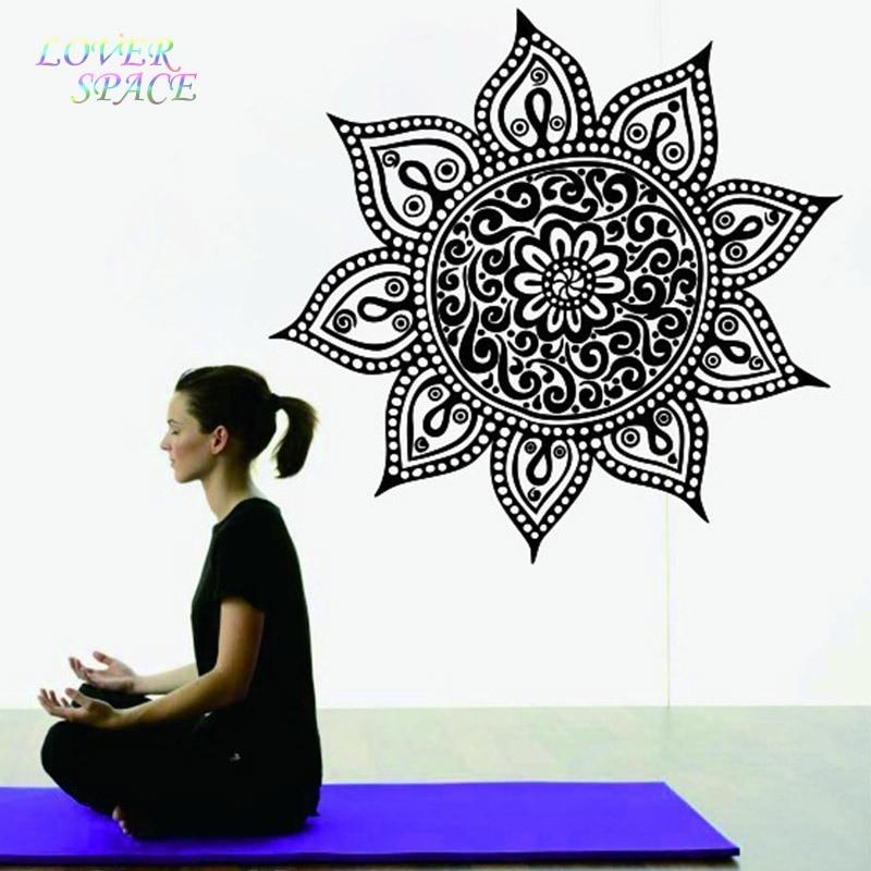 Yoga Mandala Om Indian Buddha Symbol Mehndi Vinyl Wall Decal Home Decor Wall Sticke LP58122