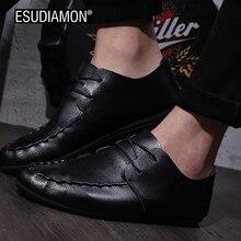 Esudiamon Новинка весны 2017 года Мужская обувь для езды на велосипеде обувь дышащая PU кожаные ботинки ленивый прилив моды швейных ниток удобные