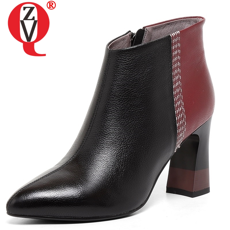 ZVQ women shoes new fashion mixed colors genuine leather super high square heel zipper pointed toe wine red ang grey bootiesZVQ women shoes new fashion mixed colors genuine leather super high square heel zipper pointed toe wine red ang grey booties