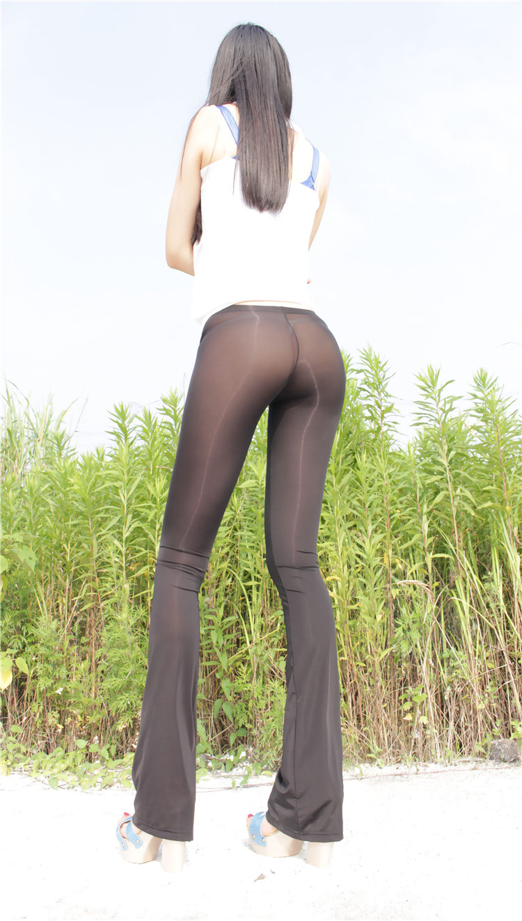 NEW Ice Silk Sexy See Through Capris Women Transparent Sheer Long Flare Casual  Shiny Glossy Pants Sexy Underwear Leggings