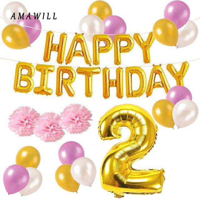 47pcs 2nd Birthday Party Decorations Baby Shower Pom Paper Ball Two Year Old Happy Foil Balloon Banner Supplies 7d