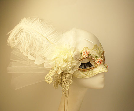 Custom side flower white feather half face Halloween Mask female Masquerade Mask gorgeous high-grade Lace Princess Party