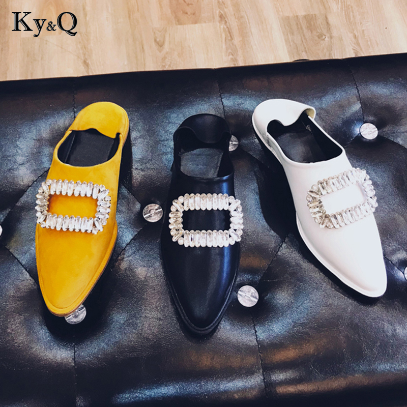 Brands spring/autumn new fashion blingbling crystal women mules leather pointed toe flat with women slippers outsideBrands spring/autumn new fashion blingbling crystal women mules leather pointed toe flat with women slippers outside