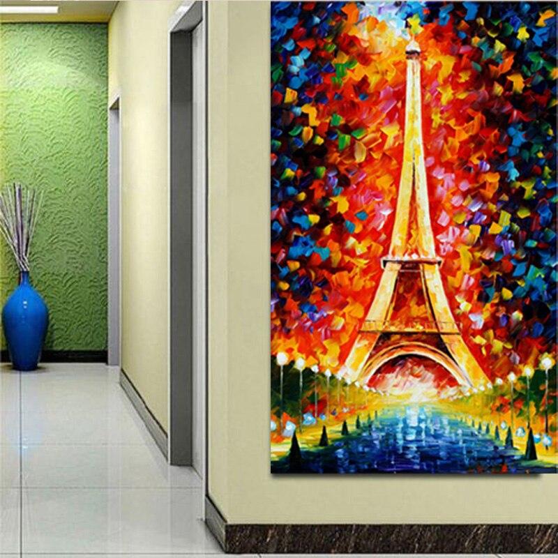 100% ruční romantické město Paříž Eiffelova věž Krajina Olejomalba Paleta Nůž Ruční olejomalby Ručně malované Olejomalba