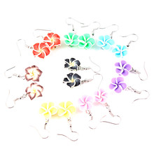 Clay Flower Drop Earrings For Women 2018 New Spring Pink Red Purple Yellow Green Color Frangipani Flower Drop Earrings Jewelry cheap Fashion PLANT Classic Zinc Alloy E18111 Melone Jewelry Metal Flower Earrings Same as picture Lead Free Nickle free 15*35mm